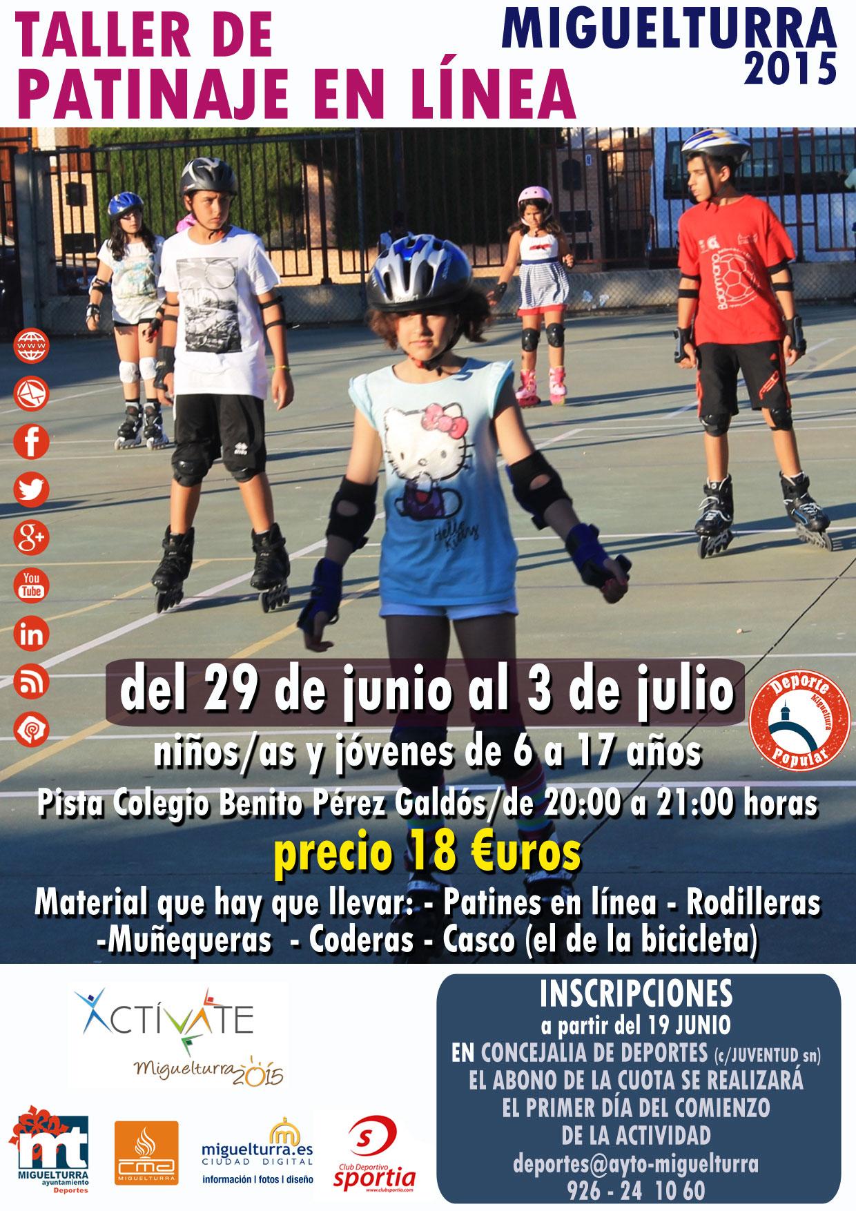 Abierto el plazo para el taller de patinaje en línea del 29 al 3 de julio en Miguelturra