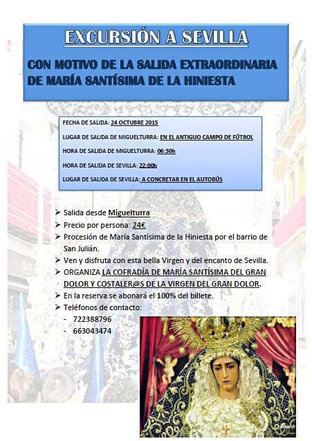 Excursión a Sevilla para la salida extraordinaria de María Santísima de la Hiniesta
