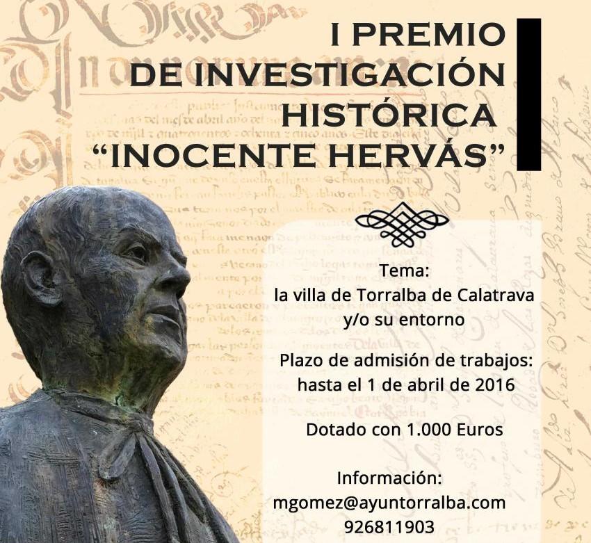"""El Ayuntamiento de Torralba de Calatrava convoca el I Premio """"Don Inocente Hervás"""" de investigación histórica"""