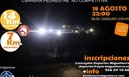La noche del viernes 18 de agosto Miguelturra vivirá una nueva edición de la carrera pedestre no competitiva «Quedada Nocturna»