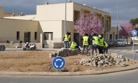 Los alumnos de jardinería del PIS ornamentan una rotonda de la Avenida de España