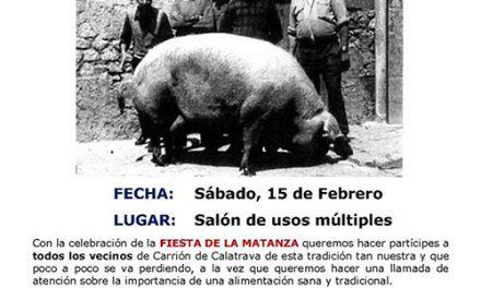 Carrión de Calatrava celebrará su tradicional Fiesta de la Matanza el 15 de febrero